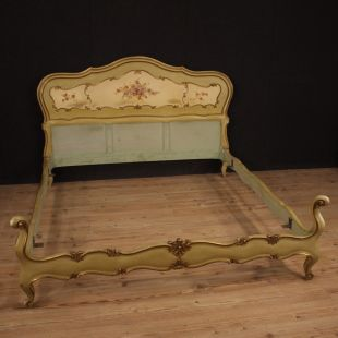 Venetian lacquered, gilded and painted double bed