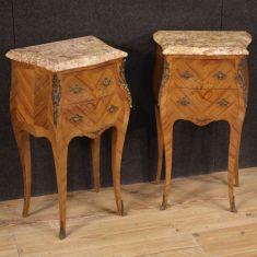 Mobili tavolini legno intarsiato 2 cassetti piano in marmo epoca 900