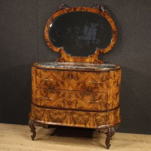 Italian dresser with mirror in walnut, walnut burl and palisander