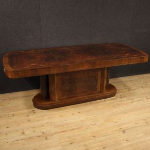 Italian table in walnut, burl and palisander