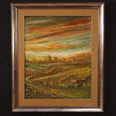 Quadro moderno con cornice dipinto olio su tela epoca 900