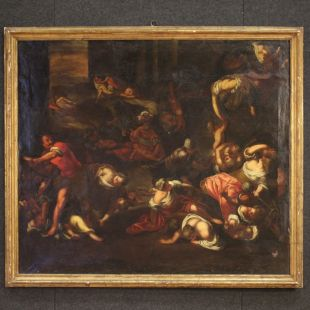 Antique Italian religious painting The massacre of the innocent from 18th century