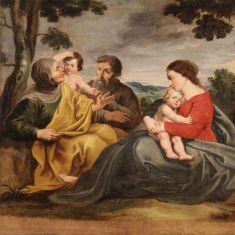 Quadro religioso olio su tela madonna con bambino e santi epoca 700