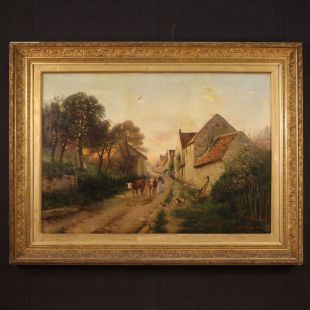 French signed landscape painting 1899