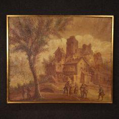 Quadro olio su tela con cornice dorata epoca 800
