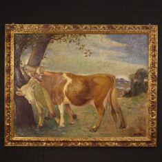 Quadro olio su tela stile antico con cornice 900