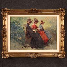 Dipinto firmato olio su tela con cornice dorata donne