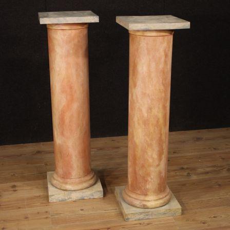 Coppia di colonne francesi in legno laccato