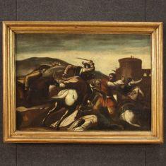 Quadro olio su tela dipinto con cornice cavalieri epoca 700