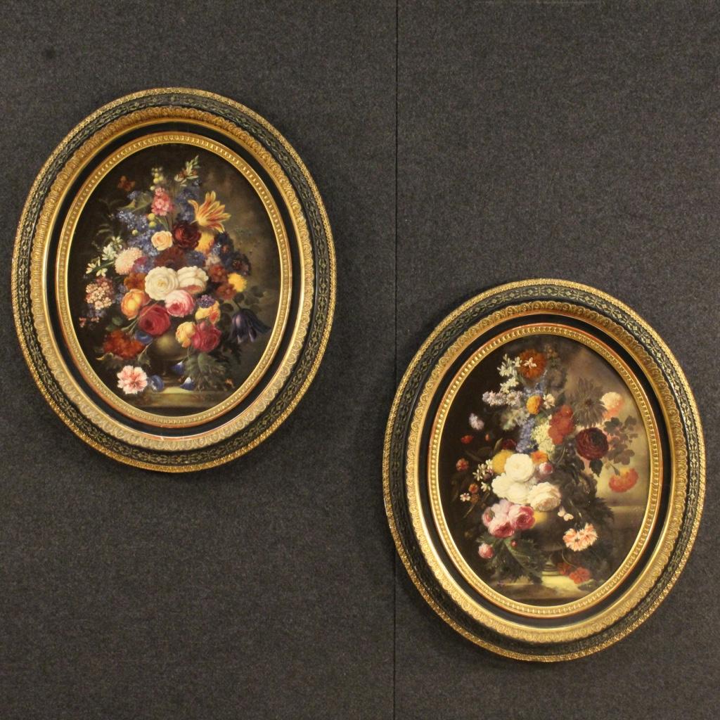 Natura morta coppia di quadri ad olio su tavola dipinti for Quadri ad olio con fiori