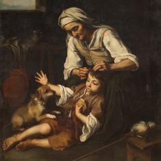 Quadro olio su tela con cornice dipinto antico epoca 800