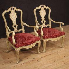 Mobili da salotto sedie stile antico in velluto rosso 900