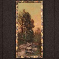 Quadro italiano olio su tela con cornice veduta in stile impressionista epoca 800