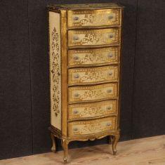 Mobile dipinto laccato italiano in legno comò cassettiera epoca 900