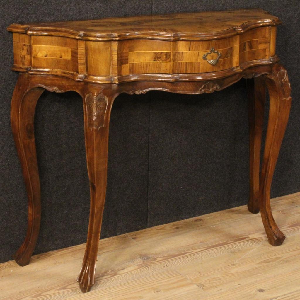 Console veneta mobile tavolo in legno di noce consolle in for Console mobile