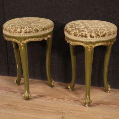 Pouf legno laccato velluto damascato mobili italiani epoca 900