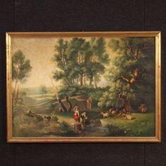Quadro con cornice olio su tela epoca 900