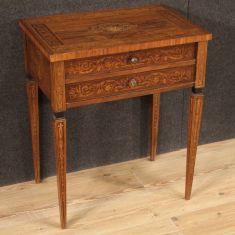 Mobile in legno intarsiato tavolo da salotto 2 cassetti epoca 900