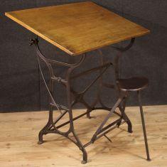 Mobile italiano design tavolino da studio in ghisa e legno epoca 900