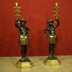 Statue lampade in legno stile antico 900
