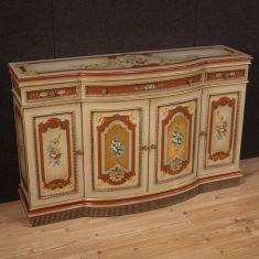 Mobile laccato dipinto fiori cassettiera 4 ante 3 cassetti epoca 900
