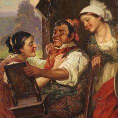 Quadro olio su tela con personaggi epoca 800