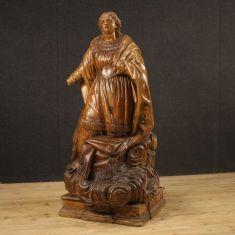 Statua religiosa antica in legno di cirmolo epoca 700